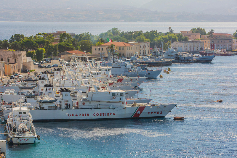 Italian Coast Guard ships in Messina, Sicily.