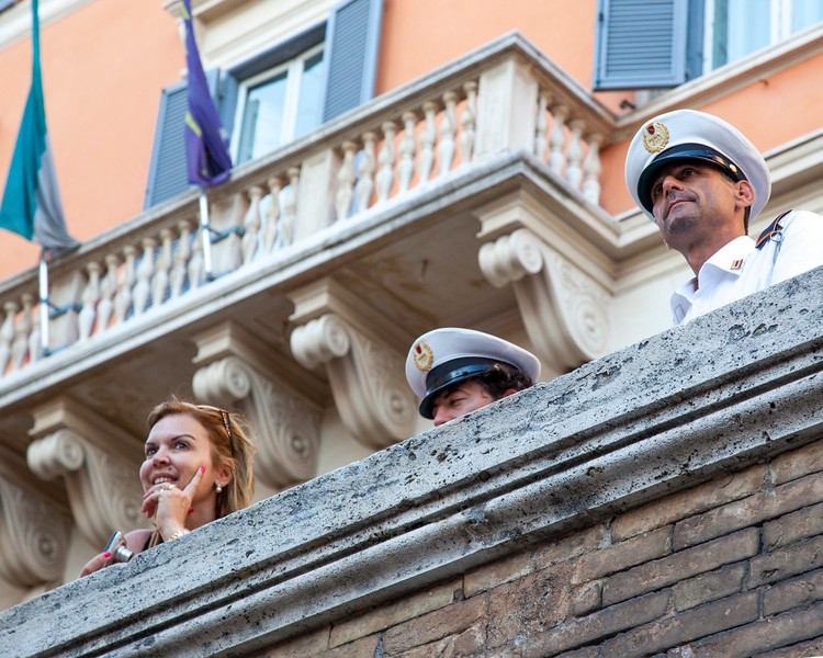These Roman police were watching over the Trevi Fountain and were quick to whistle at anyone who touched the water.