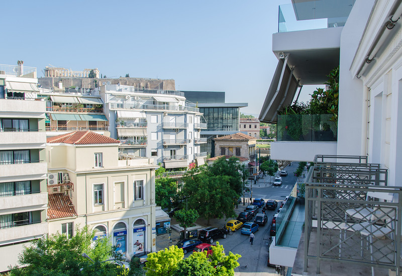 Hotel balcony view of the Acropolis & Acropolis Museum.
