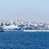 Leaving Piraeus followed by an Azamara boat