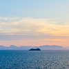 The Azamara boat and sunset enroute to Nafplion