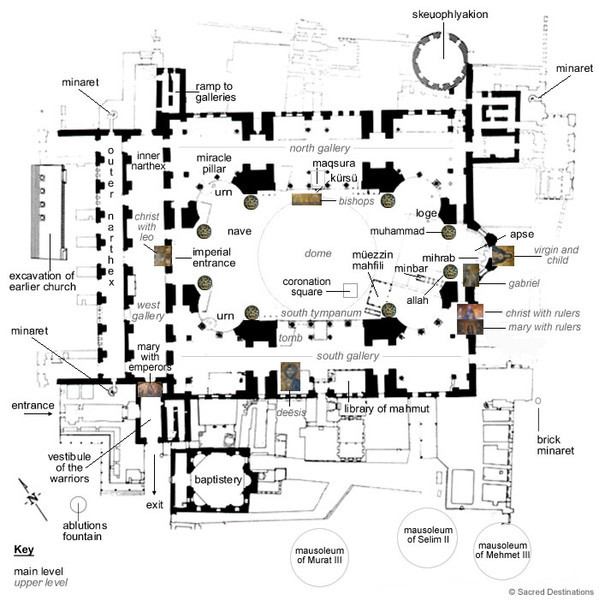 "Hagia Sophia floor plan (source  <a href=""http://www.travelsworlds.com/two-natures-hagia-sophia-byzantine-liturgical-architecture.html"">http://www.travelsworlds.com/two-natures-hagia-sophia-byzantine-liturgical-architecture.html</a>)"