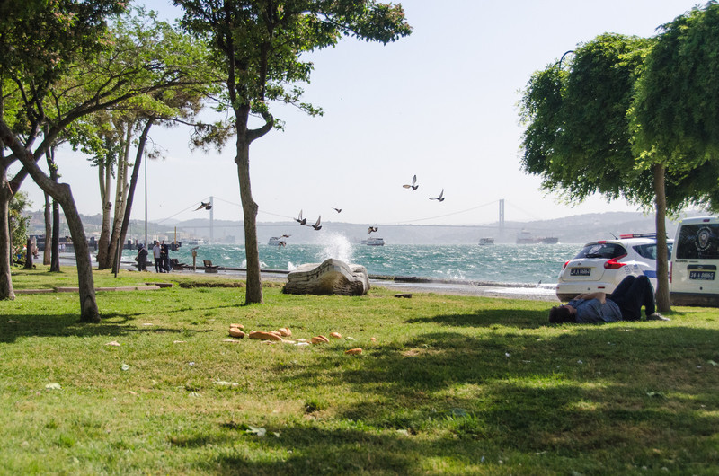 """Findikli Park next to the cruise terminal, Bosphorus Bridge in the distance. <br> Here's a <a href=""""http://www.360cities.net/image/kabatas-findikli#0.00,0.00,70.0"""" target=""""_blank"""">360 degree</a> view from the park to test your mousing skills"""