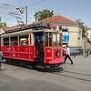 "A <a href=""http://en.wikipedia.org/wiki/Istanbul_nostalgic_tram"" target=""_blank"">heritage tram</a> end of the line at <a href=""http://en.wikipedia.org/wiki/Taksim_Square"" target=""_blank"">Taksim Square</a>"