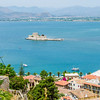 Nafplion harbour  island fortress from the Akronafplia