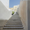 Steps leading to church near cable car station in Fira.