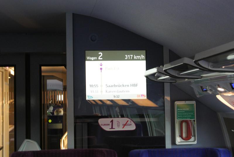 TGV Paris to Mannheim at 317 km/h