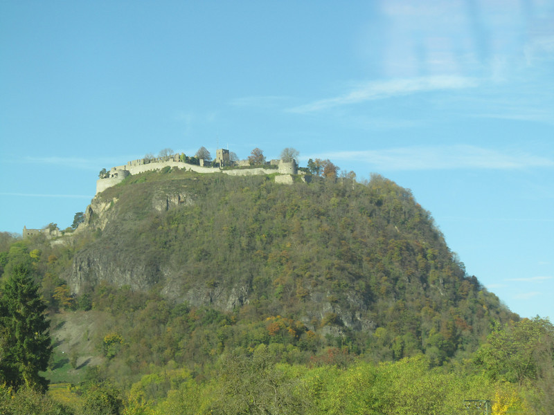 "A castle on a dormant volcano between Schaffhausen and Singen, north of the train tracks.  Can't find it on the map right now.<br /> <br /> I think it is this one.<br /> <a href=""http://en.wikipedia.org/wiki/Hohentwiel"">http://en.wikipedia.org/wiki/Hohentwiel</a><br /> <br /> One of several"