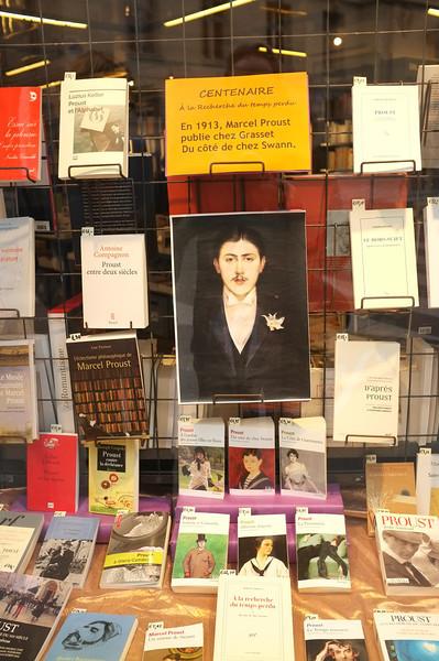 Paris. Bookshop window near the Sorbonne celebrating Proust centenary