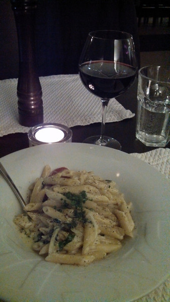 Dinner Sunday at Da Vino in Mannheim<br /> <br /> Penne with Ricotta and Spinach