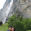 walking to one of the many waterfalls in lauterbrunnen
