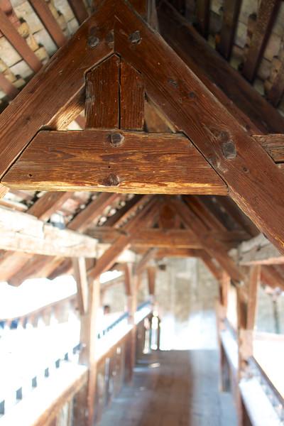 wood beams of sentry gallery