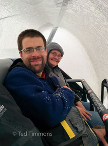 in the ski lift with the cover closed