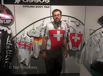 Ted at the bicycle shop with his new jersey