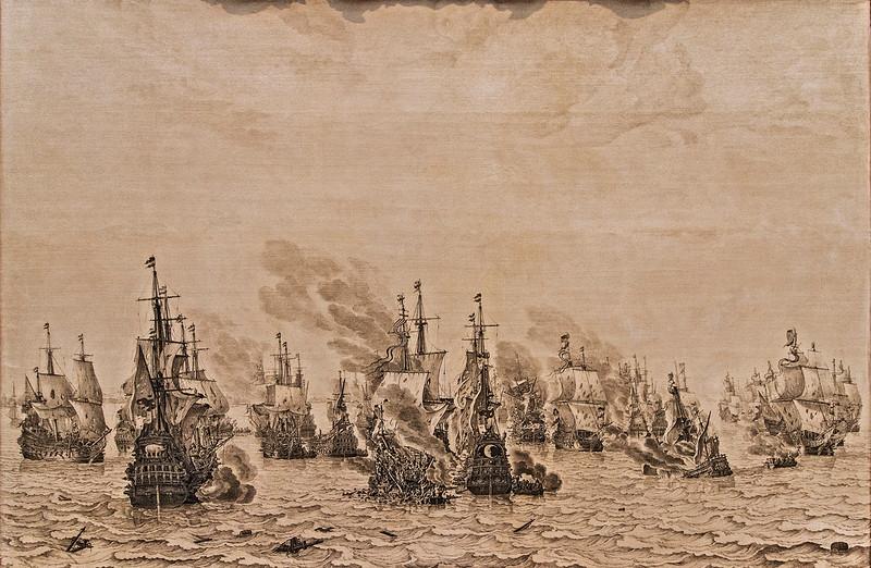 """""""Battle of Terheide,"""" Wm. van de Velde, 1657. Doesn't appear that anyone is having a good day!"""