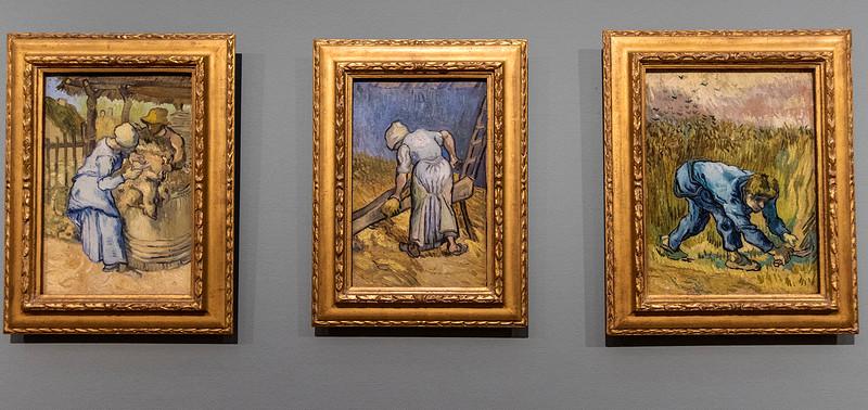 """""""Sheepshearer;"""" """"Peasant Woman Bruising Flax;"""" and  """"The Reaper,"""" van Gogh, 1889."""