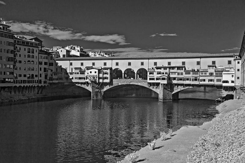 The pedestrian bridge Pont Vecchio (Old Bridge) spans the River Arno.