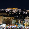 Night time Monastiraki Square, Hadrian's Library and the Acropolis