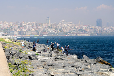 Men fishing in the Marmara, Istanbul, Turkey