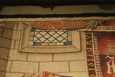 Close up of window in tapestry - Wall hanging of the liberal arts (arithmatic) ~1520