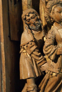 Close up of figure in 16th Century Altarpiece