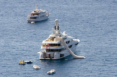 Yacht with slide