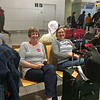 Arrived Munich on time and waiting on everyone to board the bus to our hotel.  Katie with Donna Mauk.