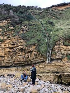 Access to shore below Pointe du Hoc, Normandy