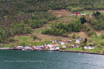 Town on the Aurlandsfjord in Norway