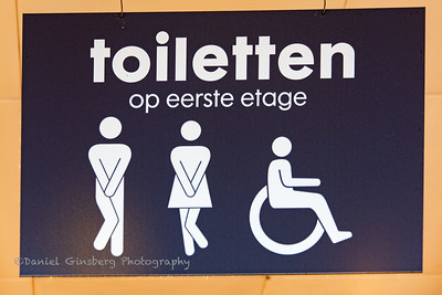 Sign for toilets in store in Amsterdam.