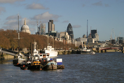 Looking back at the City from Waterloo Bridge.