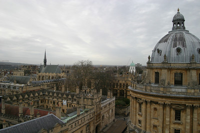 Exeter College Chapel and the Radcliffe Camera, seen from the tower of the University Church of St. Mary the Virgin, Oxford