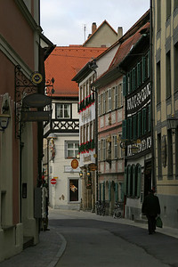 The Dominikanerstraße, with Schlenkerla on the right, Bamberg