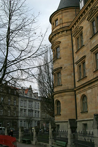 The justice building (Oberlandesgericht) and Wilhelmsplatz, Bamberg