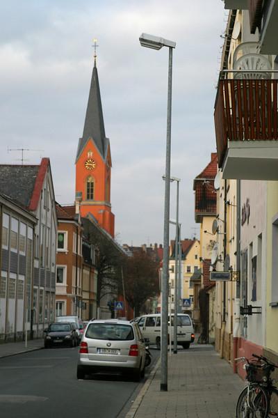 View down the Wunderburg, with the Maria-Hilf-Kirche, Bamberg