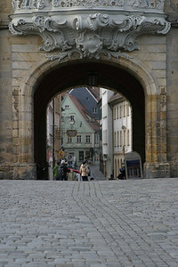 Looking west over the Obere Brücke, through the Altes Rathaus, Bamberg