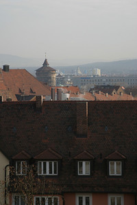 View from the Nürnberger Burg.  The round tower is one of the towers of the medieval city wall.