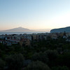 early morning view over the bay of Naples, Mount Vesuvius in the early morning mist.