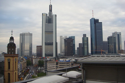 A view of the skyscrapers in Frankfurt, most of which are bank buildings. Frankfurt is a financial center, and one of the few European cities we saw with skyscrapers.