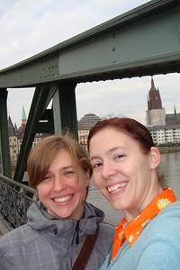 Saskia and Sarah pose across the bridge over the Main River.