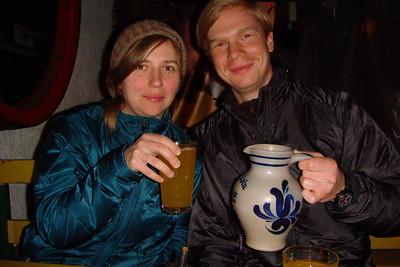 Saskia and Thomas and their apple wine.