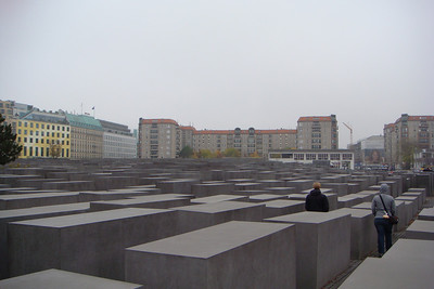 The Holocaust Memorial in Berlin. It looks benign from the outside, but as you go deeper between the blocks, the ground level drops lower and the pillars get higher.