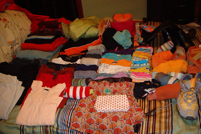 Everything ready to go into a suitcase.