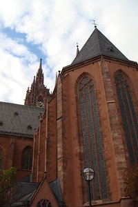 Outside the cathedral in Frankfurt.