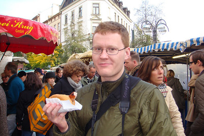Michal gets lunch at the market in Frankfurt on Saturday, Nov. 1st.