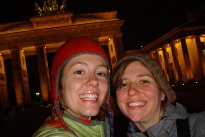 Sarah and Saskia at the Brandenberg Gate in Berlin.