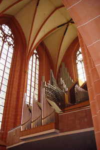 Inside the cathedral in Frankfurt.
