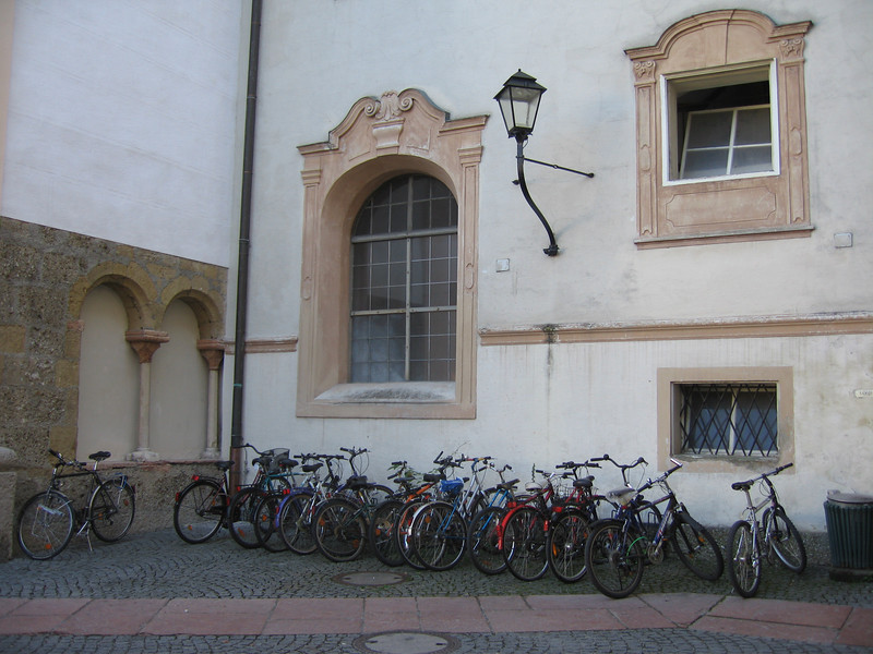 Bicycles outside St. Peter's<br /> Salzburg, Austria