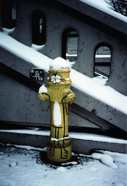 Fire hydrant in Berne, Switzerland, December 1987. Taken with an Olympus XA, probably Ektachrome 400.