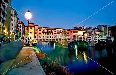 Florence, Italy, Ponte Vecchio, Old Bridge lit up at night, on the River Arno